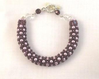 Mauve and Lavender Netted Bracelet - 1410