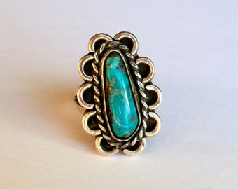 Vintage Sterling Turquoise Ring Scalloped Border Southwest Size 5.5