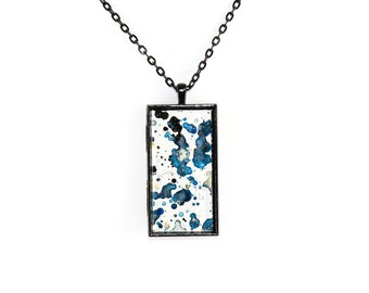 Splatter Painting Pendant - Abstract Art - Glass & Black Rectangle Necklace - Etherial Ink Colorway: White, Indigo, Navy, Black, Gold