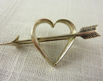 Vintage Beau Sterling Heart with and Arrow Brooch