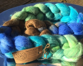 Hand dyed Polwarth and Silk Roving