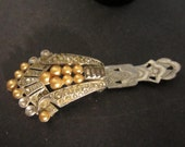 Silver Toned Shabby Chic Pearl and  Rhinestone Art Deco Dress Clip Antique 1930s