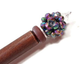 Laying Tool Sewing Stiletto Beaded Iridescent Rainbow Blue Purple Green Needlepoint Quilting Tool Shawl Pin Hairstick