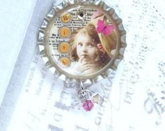 Wish Necklace Victorian Girl Necklace Friendship Necklace Vintage Style Necklace Bottle Cap Necklace