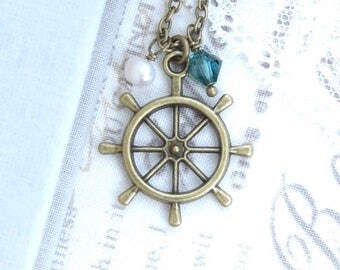 Wheel Charm Necklace Boating Necklace Sailor Necklace Ocean Charm Necklace Ship Wheel Necklace