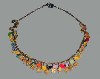 Brass Antique Filagree Chain Necklace with Czech Glass Leaves and Gems