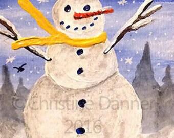 Original Art Winter Snowman ACEO Painting