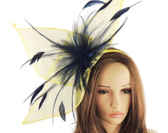 Yellow Navy Viktoria Fascinator Hat for Weddings, Occasions and Parties on a Headband