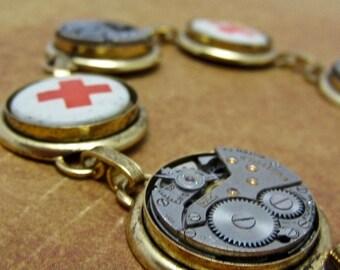 """Steampunk Jewelry Bracelet - """"Rescued"""" - Steampunk watch parts charm bracelet"""