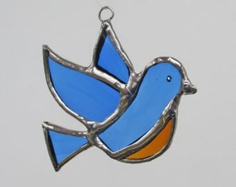 Flying Bluebird - Upcycled Stained Glass Suncatcher or Christmas Ornament