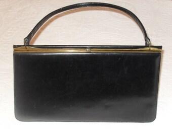 Vintage 50s Nicholas Reich Black Leather Handbag with original mirror