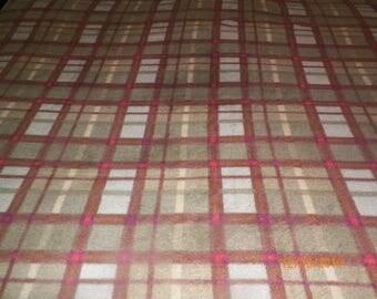 Green and Brown Plaid Fleece Blanket Throw
