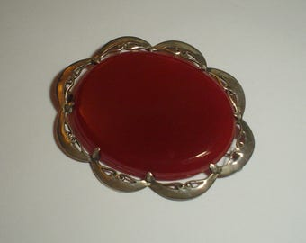 Silver brooch carnelian hardstone beautiful vintage large