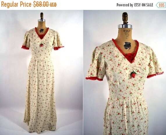 50% OFF SALE // 1960s dress 60s red maxi floral print S