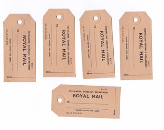 Lot of 5 Vintage Cardboard Postal Tags | Royal Mail Post Ephemera | Mail Art | For Crafting or Collecting |