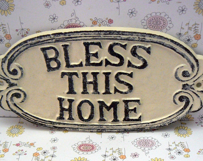 Bless This Home Cast Iron Welcome Sign Shabby Chic Off White Home Decor
