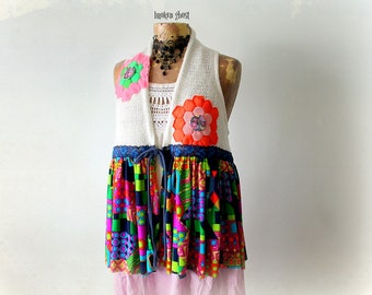 Colorful Vest Boho Chic Top Women Retro Clothes Hippie Shirt Recycle Clothing Layering Top Eco Friendly Art Wear Bohemian Shrug S M 'LINDSAY