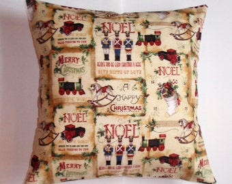 SUMMER SALE - Handmade CHRISTMAS Throw Pillow Cover, Vintage Toy Shop Pillow Cover, Whimsical Accent Pillow, Christmas Toys Cushion Cover