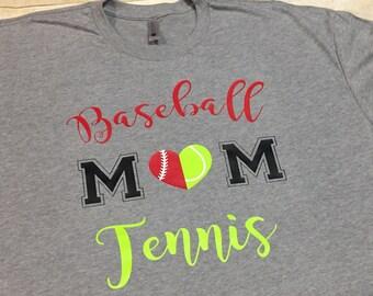 Baseball tennis mom tee, baseball mom, tennis mom, football mom