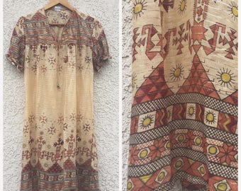 VINTAGE Indian gauze sun totem dress