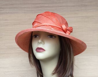 Women's Straw Hat, Peach Cloche Straw Hat, Summer Hat, Sun Hat, Downton Abbey, Mother of the Bride, Bridesmaid Hat,