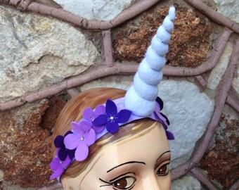 Purple flowers unicorn horn headband with rhinestones