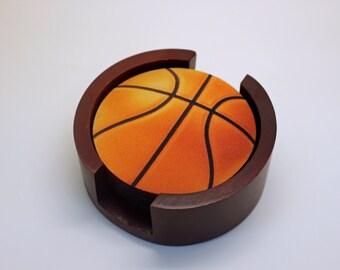 Orange Basketall Coaster Set of 5 with Wood Holder