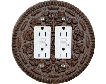 Chocolate Sandwich Cookie Double Grounded GFI Outlet Plate Cover