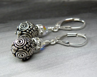 Bali Silver Ball Earrings, Swirl Design, Short Drop Round Sterling Silver Metal Earrings, Rhinestone Accent, Everyday Handmade Jewelry