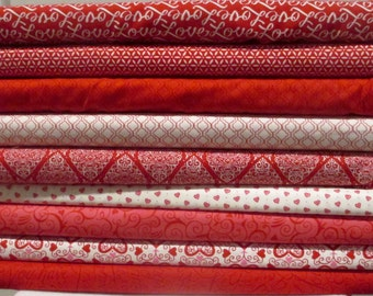 Red Ivory Pink Ever After Half Yard Fabric Bundle - Moda - Deb Strain - Valentines