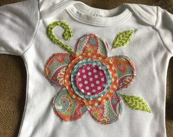 Flower appliqué one piece baby bodysuit or gown, baby shower gift