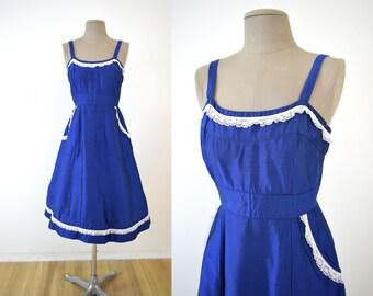 Vintage Blue Raw Silk S Sundress // 50s 60s sun dress 1950s 1960s Lace Trim small