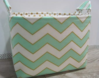 SALE LARGE Fabric Organizer Basket Storage Container Bin Bucket Bag Diaper Holder Home Decor- Size Large - Mint and gold - RTS