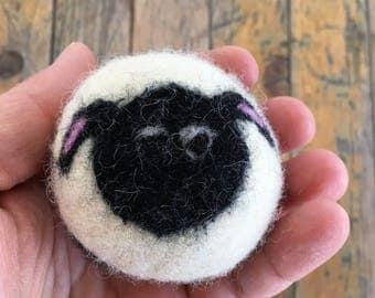 Black Sheep or Lamb, Felted Wool Toy Ball or Sculpture , Mini