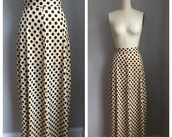 Vintage 1970's Silky Nylon Beige and Brown Polka Dot Maxi Skirt Size Extra Small XS