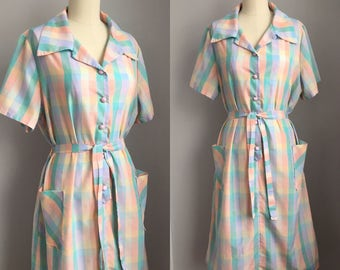 Vintage 1960s Pastel Plaid Shirtwaist Belted Day Dress Size Extra Large XL
