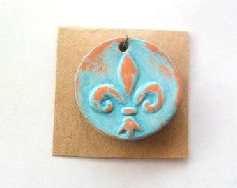 Turquoise Glazed Terra Cotta Fleur De Lis Pendant Finding