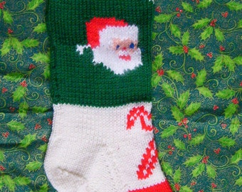 Vintage Knitted Santa Christmas Stocking Pattern