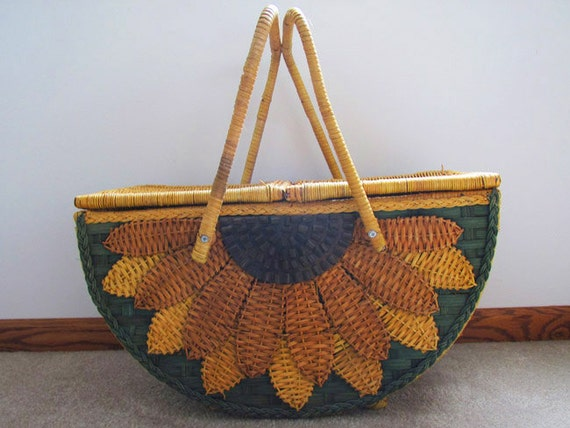 Stunning mid century vintage oversize footed sunflower wicker basket