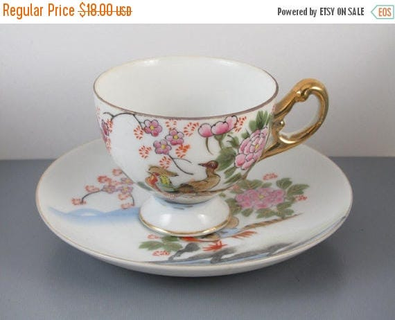 SPRING CLEANING SALE Vintage hand painted Japan footed pedestal demitasse birds cup and saucer / porcelain / china / bone china / tea / coff
