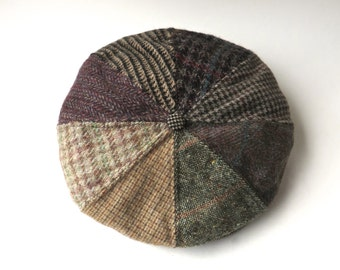 80s vintage Patchwork Tweed Wool Newsboy Cap / Schuman Sullivan of New Haven / Made in the U.S.A.