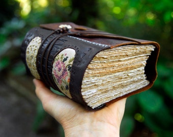 The Muse - Brown Recycled Leather Journal, Patchwork with Linen & Lace, Over 430 pages, OOAK