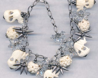 FAB CLUSTER BRACELET Charm Bracelet with Swarovski Beads Hand Carved Beads