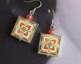 Silver Earrings Portugal Tile Azulejo Portuguese Antique FRAMED Nazare and Ericeira  Gift Box Included  Ships from USA Orange Geometric 1555