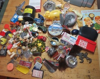 6 POUNDS Junk Drawer Findings / Assemblage Lot / Mixed Media / Altertered / Salvaged / Repurpose / Artsy Supplies. / Found Objects