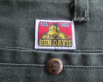 Vintage 90s Forest Green Hip Hop Work Wear BEN DAVIS Super Slouchy Twill Skater Pants / waist 36 / length 29 / look like never worn