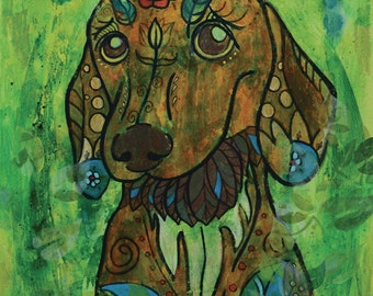 "Miniature Dachshund Dreamy - limited edition print - dog - 5"" x 7"""