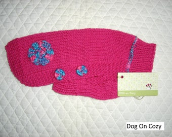 Appliqued Dog Sweater, Hand Knit Sweater for Pet, Full Length, Size XSMALL, Jumper DK Pink with Button Sides