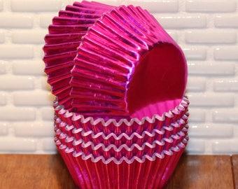 NEW - Mini Brite Pink Foil Cupcake Liners (Qty 50)  Mini Brite Pink Baking Cups, Mini Brite Pink Cupcake Liners, Mini Brite Pink Baking Cups