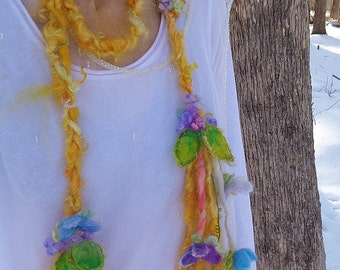 scarf lariat fantasy fiber art yarn braid garland scarf adornment - sunny days garden